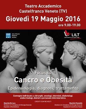 Cancro e obesità: focus a Castelfranco Veneto il 19 maggio al Teatro Accademico